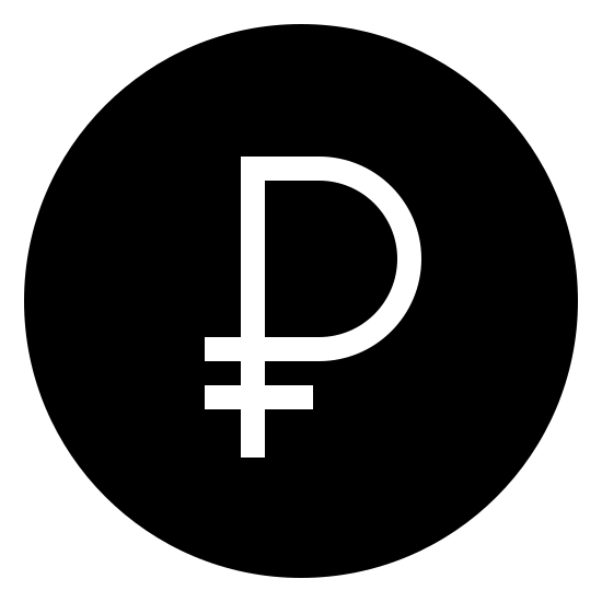 Ruble Filled icon. There is a circle with a shape inside. there is a p that has a horizontal line at the bottom stick of the P.it covers the majority of the circle