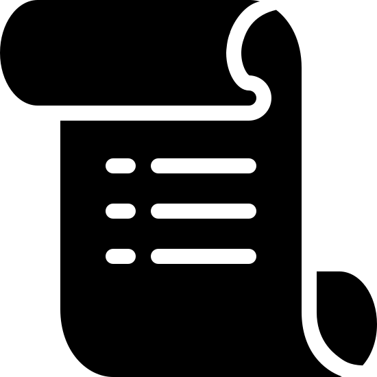 ルール icon. Icon looks like a rectangle but the top side has been folded so that it overlaps the front and the bottom side has been folded so that it overlaps the back. in the middle of the shape, there are four identical, parallel horizontal lines. each line breaks off on the left, leaving a smaller, disjointed segment