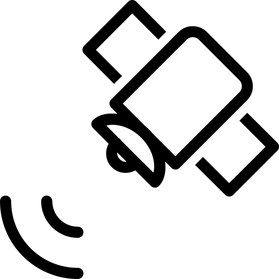 Satellite Signal icon. This image is depicting a satellite that is facing downward to the left. Below the satellite are two curved lines emanating from the main part of the object as if to indicate the satellite is sending a signal.