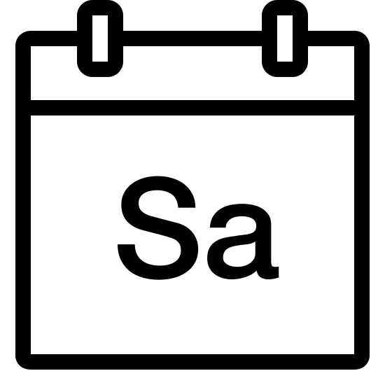 Sobota icon. The image is a square with two little tabs at the top. It looks like the page of a calendar. There are two letters on the image. In the center of the large square part is a the capital letter S and the lowercase letter a.