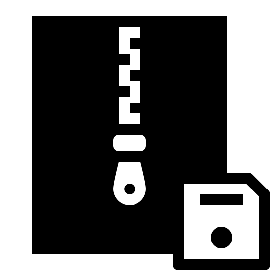 Zapisz Archiwum icon. It's a logo of a rectangle in portrait orientation with a closed zipper coming down from the top of the rectangle to below the middle. On the lower right in front of the rectangle is a small square with its upper right section cut off with a horizontal line in its upper half and a fat dot in its lower half.