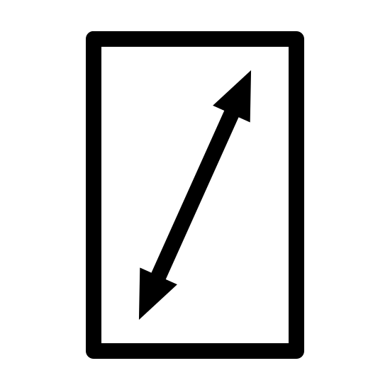 Screen Resolution icon. This appears to be a rectangle situated vertically. There is a vertical line inside the rectangle, going from the bottom left corner of the rectangle to the top right corner. There are two small triangles, one connected to the bottom left of the line and one connected to the top right end of the line.