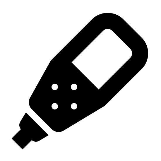 Scuba Computer Filled icon. A six-sided cylinder is pointed down and to the left. There is a square panel in the middle with four  dots near the end. The cylinder has a small nozzle attached at the end with two short lines coming out.