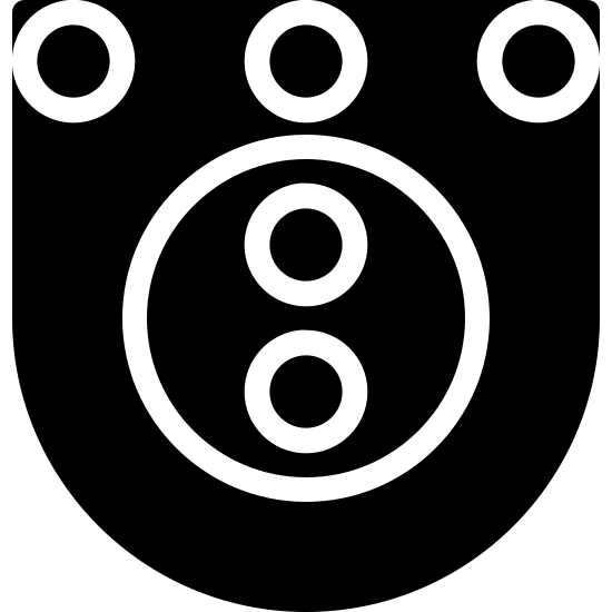 Skeeball Filled icon. The icon looks like a U shape with two same size circles at the inner top right and top left of it. There is also a circle directly in between them as well. Under the middle circle towards the middle of the U shape is a larger circle with two vertical circles inside of it.