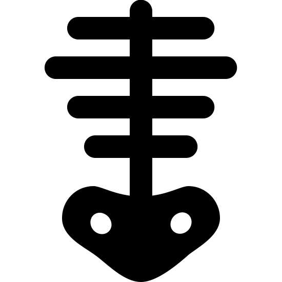 Skeleton Filled icon. It is a very simplified skeleton. There is a centered vertical line (spine) with 4 equally-spaced horizontal lines intersecting it (horizontally centered on the vertical line), varying in width, indicating ribs. The vertical line meets a pelvis-shaped object at the bottom, which has 2 small holes/sockets.