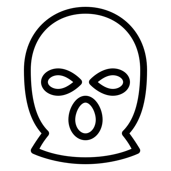 Black Ski Mask icon. This is an icon of a ski mask. It is a bulbous circle at the top that tapers off to a horizontal line at the bottom. Inside the circle is two holes for eyes and a larger circle for the mouth.