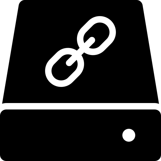 Slave Filled icon. The icon is a simplified depiction of a hard drive linked as IDE slave in a computer setup. It consists of a rectangular prism, angled such that only two sides are visible, the front and the top. On top is inscribed a chain of three links. A small power light is visible on the front, to the right.