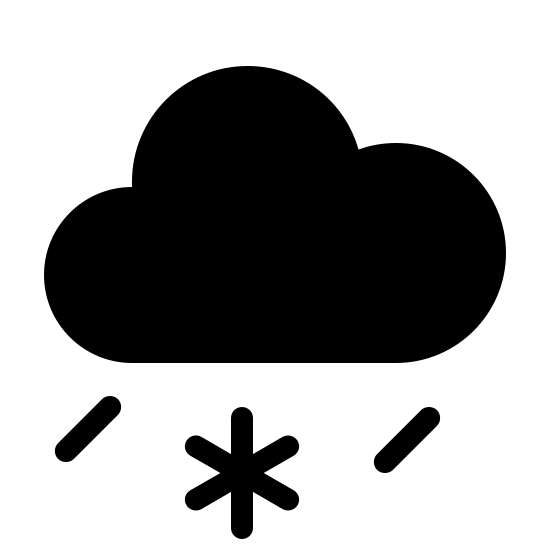 Sleet Filled icon. This icon depicts a cloud with two lines and a symbol similar to an asterisk coming from under it.  The cloud has a line at the bottom that curves up to three bumps on top. The two lines underneath are short and slanted to the right, and the asterisk is in between the two lines in the middle underneath the cloud.