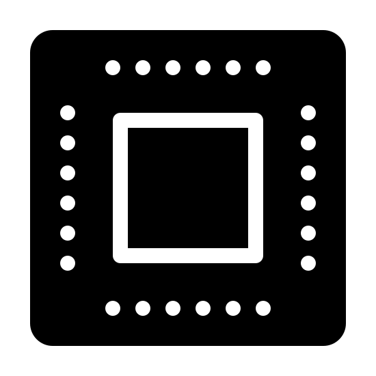 Microchip Filled icon. A square with slightly rounded corners, with a smaller square inside of it. Between the two squares, there are six closely spaced dots lining the sides, slightly closer to the outer square.