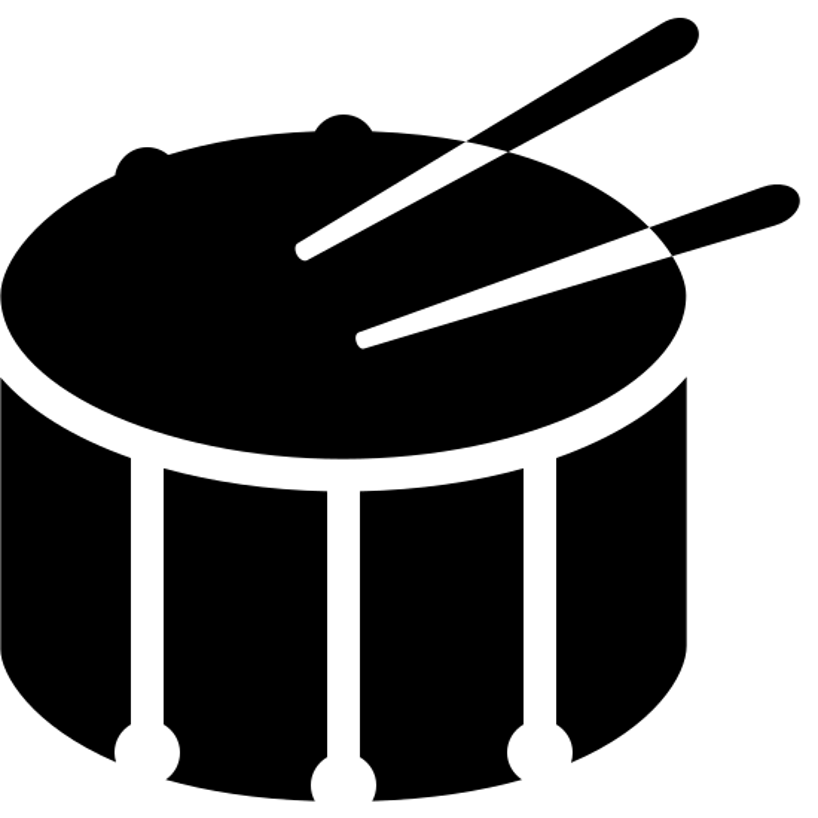 小鼓 icon. This is a drawing of a big drum with two drumsticks on it. It is a circular drum and around the base of the drum there are rectangles going all around the side.