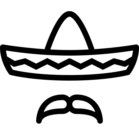 Sombrero icon. The shape is like a sombrero. There is a horizontal elongated semi-oval with another smaller semi-oval atop in the center, sitting vertically. The horizontal oval has a squiggly line down the center. There is a mustache shape under the ovals. The mustache is centered under the horizontal oval.