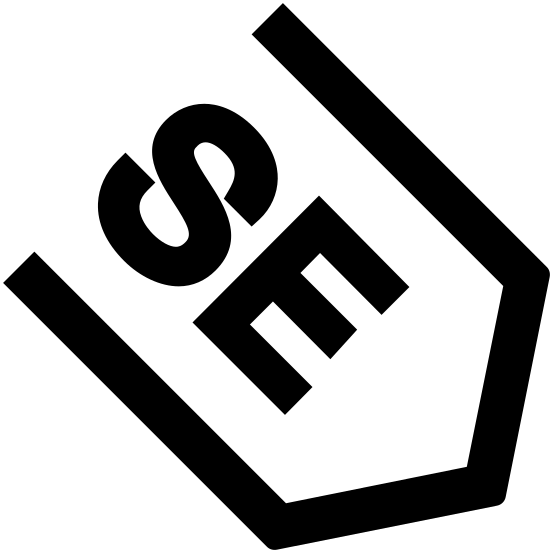 South East Filled icon. This icon is the direction for South East.  The logo has an arrow that is pointed downward and within the arrow you will see the capital letter S and a capital letter E with the arrow.  These two letters stand for south east.