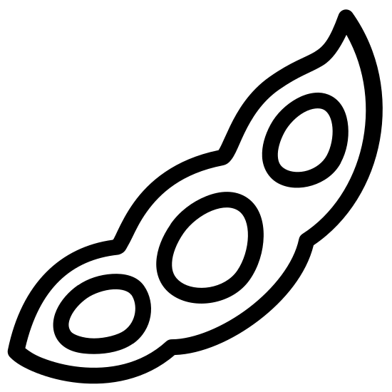Soja icon. There are three ovals next to each other. The middle oval is slightly larger than the two outer ovals. All three ovals are inside a squiggly line that circles around them.
