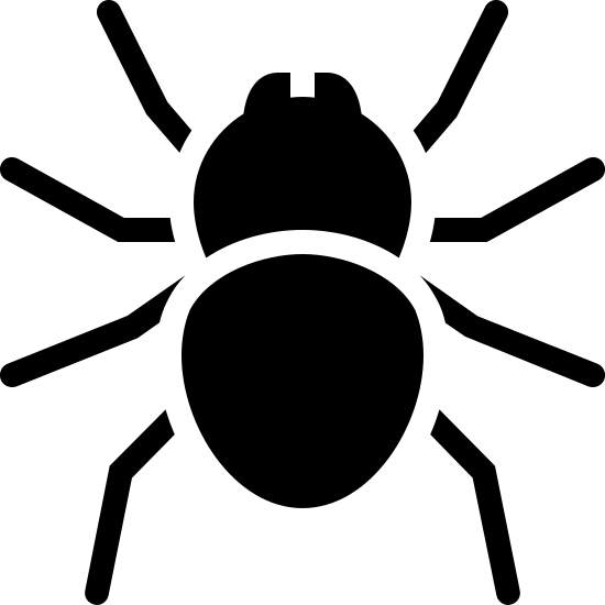 Spider Filled icon. This logo is of an arachnid, or spider. It features two incisors, a rounded head, and a slightly elongated body. It was four slightly bent legs on each side of its body.