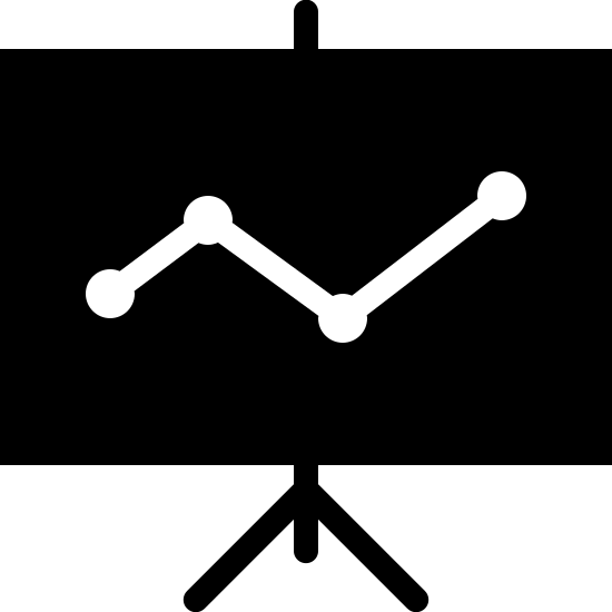 Statistics Filled icon. This logo is rectangular, with a line chart and statistics indicated by angled lines within the rectangle, with a base indicated by lines across the bottom of the square to the floor.
