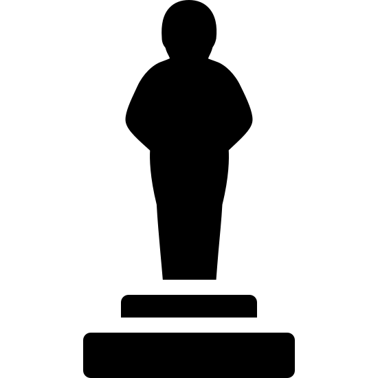 Posąg icon. There are two rectangles on the bottom, with the smaller one stacked on the larger one. On top of the slabs is a figure of a person standing up tall.