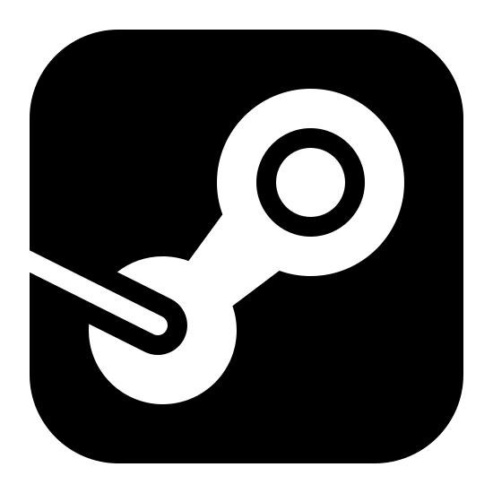 Steam Filled icon. It's the outline of the Steam logo, drawn inside a square with rounded corners. It looks like the Steam logo, but drawn as the outline.  It looks like a bicycle chain link drawn diagonally with a line coming out of the lower part of the link.