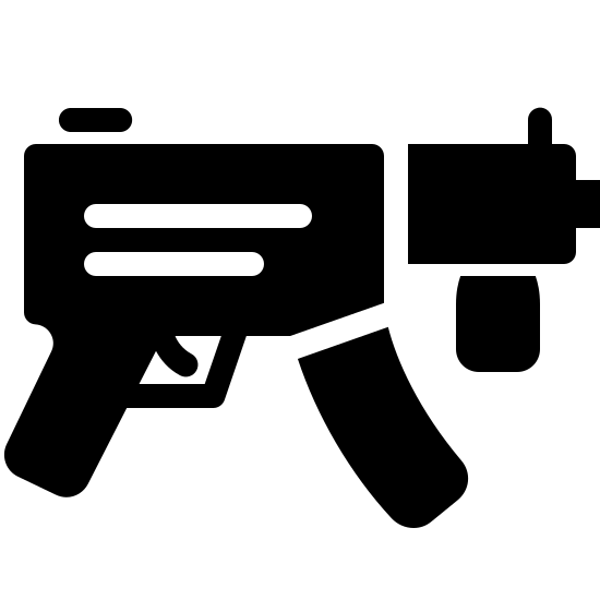 Submachine Gun Filled icon. This icon represents a submachine gun. It is a rectangle with two lines going down into two handles with a trigger in the middle. There is a smaller rectangle coming out the right side with a small rectangle on the bottom and a line on top and a small sqaure in front of it all.