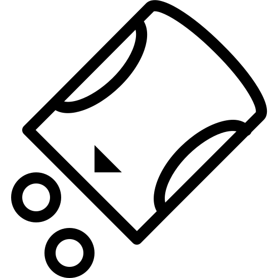 Słodzik icon. This is an image of a cylinder facing down on its diagonal.  Outside of the cylinder are two small circles on the bottom.  The cylinder shape has two small semi-circles on either side of it and a triangle towards the bottom.