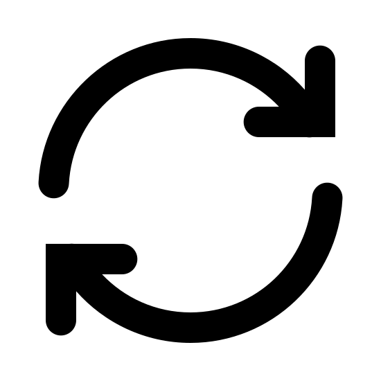 Sincronizar icon. There are 2 circular lines following each other with an arrow on the ends of the circular lines. The are working together as a revolving circle to complete a rotation.