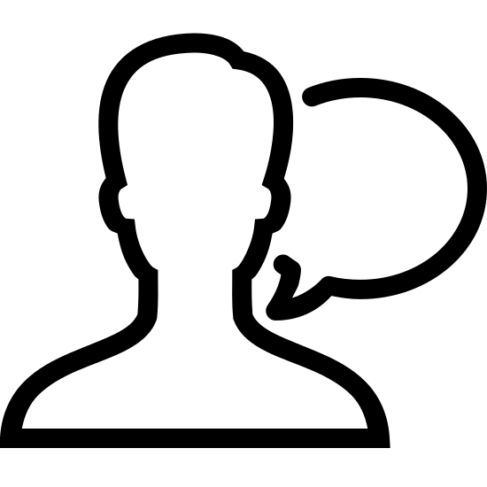 """Communicate icon. This an outline of a male person. The outline shows the head and shoulders. There is no face – just the outline. Next to the person's shoulder is a """"speaking bubble"""" representing speech."""