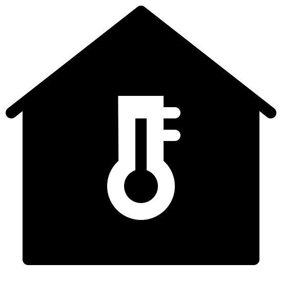 Temperature Inside Filled icon. This image for temperature inside depicts the outline of a house. It is in the shape of a square, with a roof that is slanted upwards at the top. In the center of those there is a large thermometer symbol.