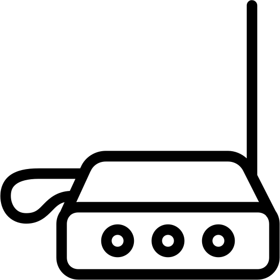 Theremin icon. The front of the icon is shaped like a rectangle with curved corners and inside of it are 3 equally spaced circle. Above the rectangle is and another rectangle shape but the right and left side are slightly curved in. There is a loop on the left of the rectangle and a line sticking up at the far right.