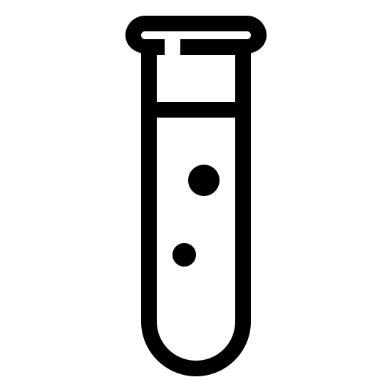 Cienka próbówka icon. It's a logo of a Thin Test Tube. The beaker has a dark outline and is white in the middle. The beaker is small and has a liquid inside just past halfway.