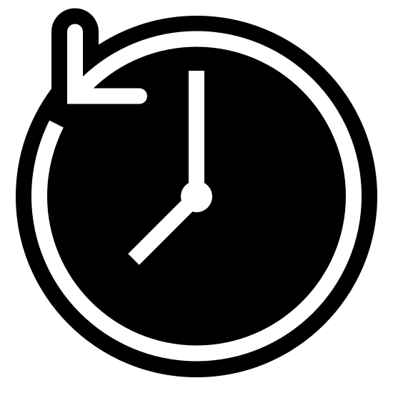 Time Machine Filled icon. The past icon is a represented with a clock. Instead of a complete circle like most clocks are, the clock is shown with an arrow that makes a circle. However, the arrow is going in a counter clockwise motion to show that it is going backwards or in the past.