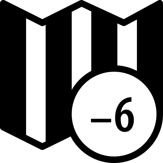 Timezone +6 Filled icon. A rectangle with zigzag lines on the top and bottom sides has four columns of dots parsed inside. Overlapping the bottom right corner is a circle with plus six inside.
