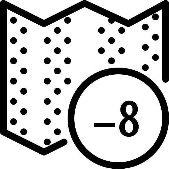 Timezone +8 icon. A horizontal rectangle with zig-zag lines at the top and bottom and four columns of parsed dots on the inside. There is a circle overlapping the bottom right quarter of the rectangle with a plus symbol followed by the number eight inside of it.