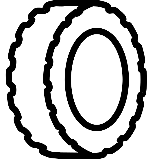Tire icon. The icon is a simplified depiction of a car tire. In the center is an empty circle, representing the empty center of the tire. The tire itself is heavily knobbed, implying that the tire is meant for outdoor use, but not inscribed with treads as might be expected.