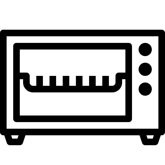 Mini piekarnik icon. There is a rectangle that is longer than it is high with a smaller  rectangle that is longer than it is high off set to the left.  in the space created by the offset there are 3 black dots to represent buttons. inside the smaller rectangle there is a comb like drawling to represent a rack.