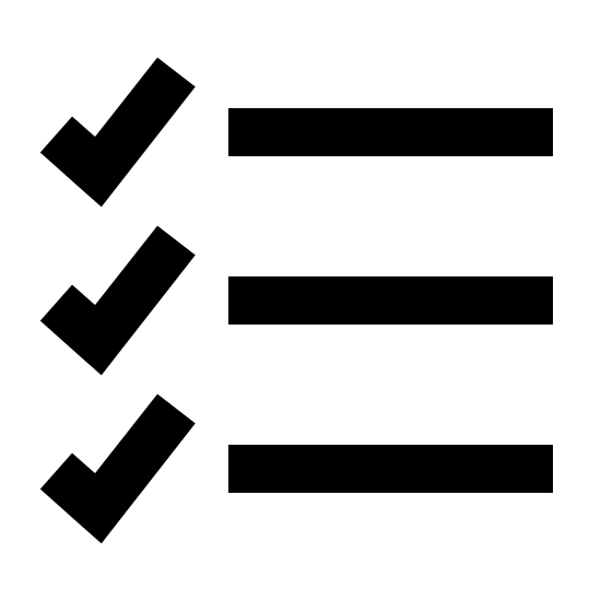 Todo List Filled icon. There are three equal length horizontal lines which are placed on top of each other with equal spacing between them and there are three tick marks which are of equal size towards the left side of each line. Also there is small spacing between each tick mark and the horizontal line.