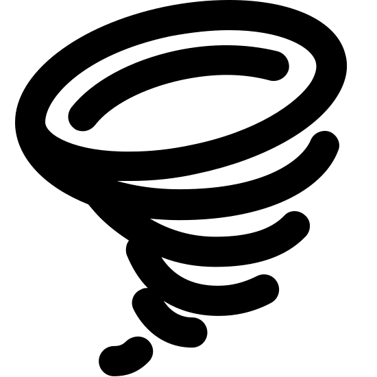 Tornado Filled icon. A drawing indicating a tornado. Drawing is one oval on its side with smaller curved lines under it, getting smaller and smaller. It is very similar to a waffle ice cream cone.