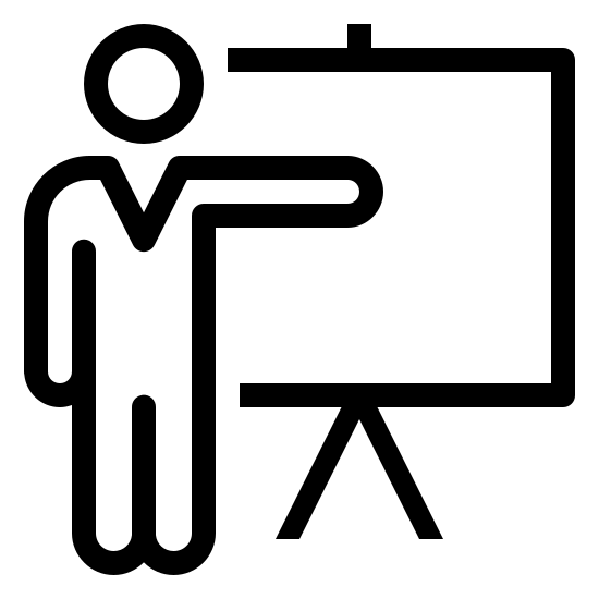 Training icon. This looks like a square with the left side missing. There is an upside down V at the bottom of the square, indicating that the square is balancing on it. There is a Person standing to the left of the square, pointing his arm to the right.