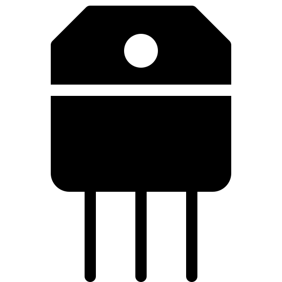 Transistor Filled icon. Three parallel lines form the legs of the icon. a rectangle is attached to these legs. on top of this rectangle is a hexagon shaped similarly to the rectangle. this shape contains a single dark circle in its center