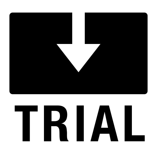 Trial Filled icon. The image is a rectangle with an arrow coming from the top of it. The arrow is centered and pointing down. Directing underneath the rectangle is the word trial in all capital letters.