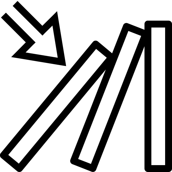 Tryb wyzwalania icon. This icon is depicting the domino effect. Three lines are shown with an arrow indicating the movement of one object being tipping over and causing the next two objects to fall over sequentially.