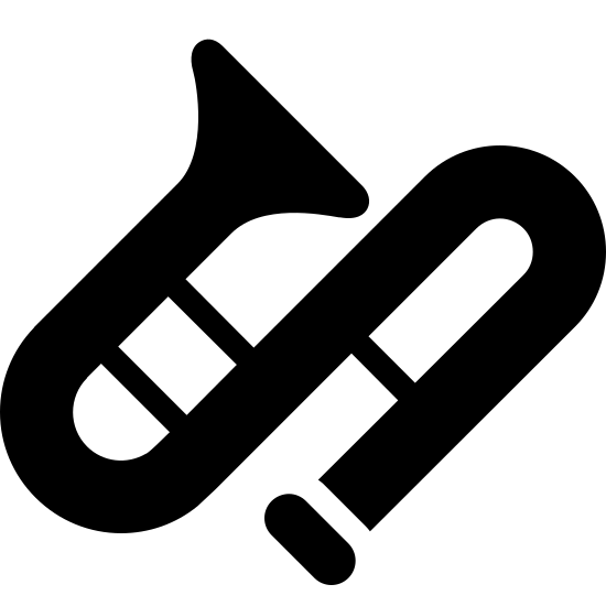Trombone Filled icon. Musical instrument stylized as an S-curve with a triangular opening at the top of the S, a mouthpiece at the bottom of the S, two lines connecting the top of the S to me middle, and another line connecting the middle of the S to the bottom.  The image is tilted 45 degrees to the left.