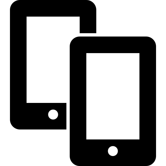 Zwei Smartphones icon. The icon is shaped like two horizontal rectangles. Inside each rectangle are smaller rectangles that start at the top and end almost at the bottom right before meeting a dot and the bottom center. Both rectangles are the same size but the left one is partially hidden behind the right one.
