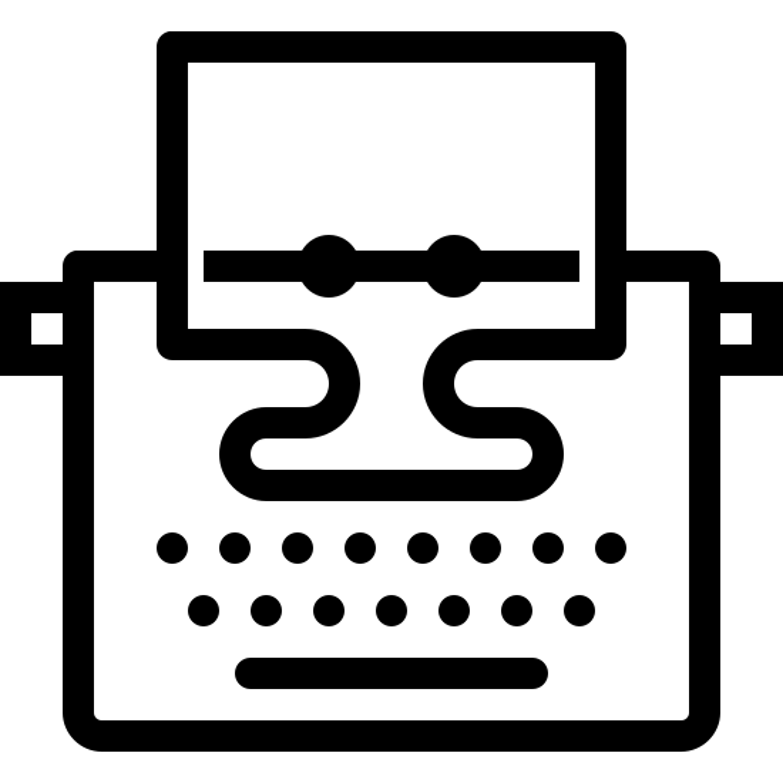 打字机和纸 icon. It's a logo of typewriter with paper reduced to an image of a typewriter with paper sticking out of its tray. The typewriter used to be our main source of writing, it has many keys on it and it works similar to typing on a computer keyboard.