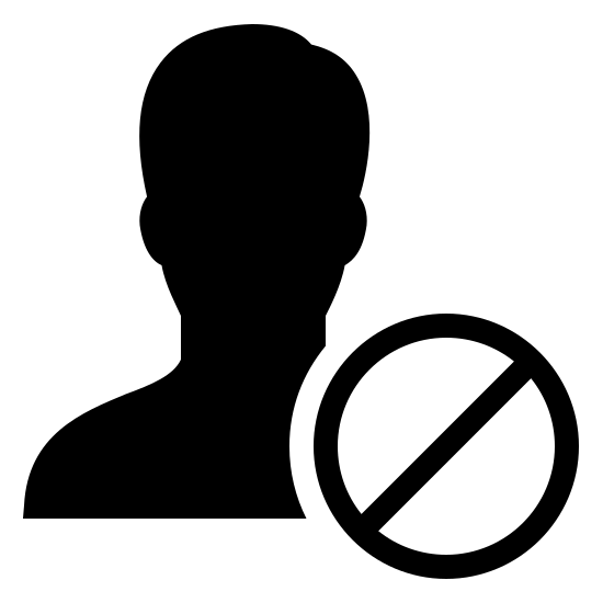 Unfriend Filled icon. There is the outline of a male head and shoulders. Covering part of one shoulder, as though in front of the outline, is a circle with a slash inside it going from the upper right to the lower left area.