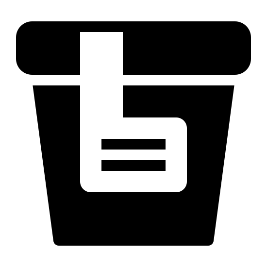Urine Collection Filled icon. This icon represents urine collection. It is rectangle shape with a larger top than bottom. It has a square shape with a line going to the top in the middle. The top is little separated with a line.