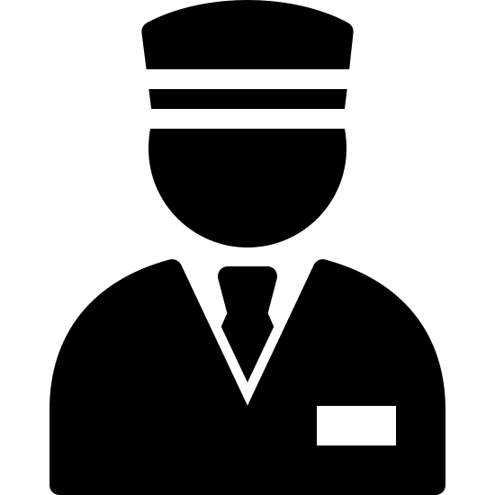Valet Filled icon. There are two separate portions of this icon. The first portion has a rounded portion that is shaped like someone's head with them wearing a cap. This portion has two lines that run parallel horizontally signifying the bill of the cap. The second portion is the upper torso of a human with them wearing a suit and tie. In the bottom right corner of this portion, there is a small rectangle signifying a name tag of the individual.