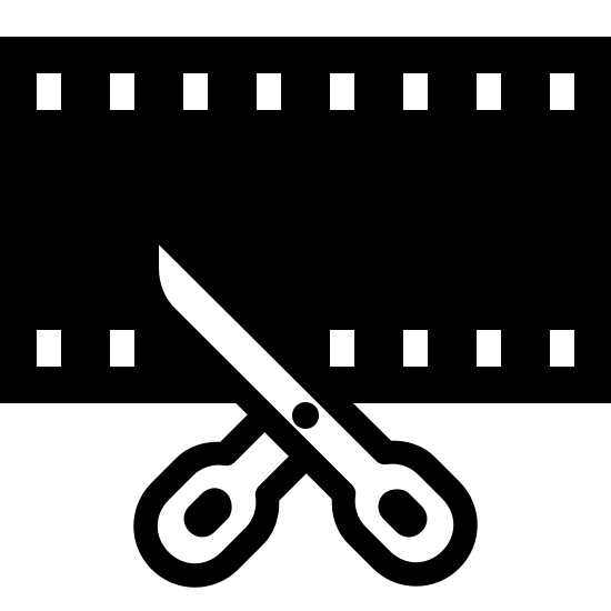 Video Trimming Filled icon. This icon represents video trimming. It is a rectangle with small squares on the top and bottom. In the middle is a line cutting across and leading down into two handles which represents scissors.