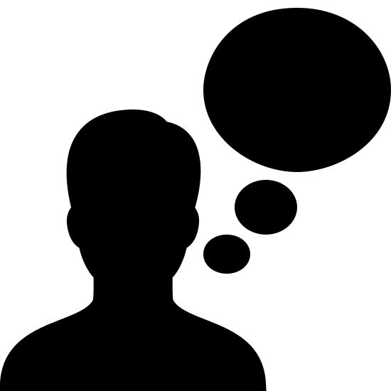 Voice Recognition Filled icon. It's the outline of a person's head and shoulders with a thought bubble coming out from the right-hand side. The entire icon is colored white, while the person's silhouette and thought bubbles are thick black outlines.