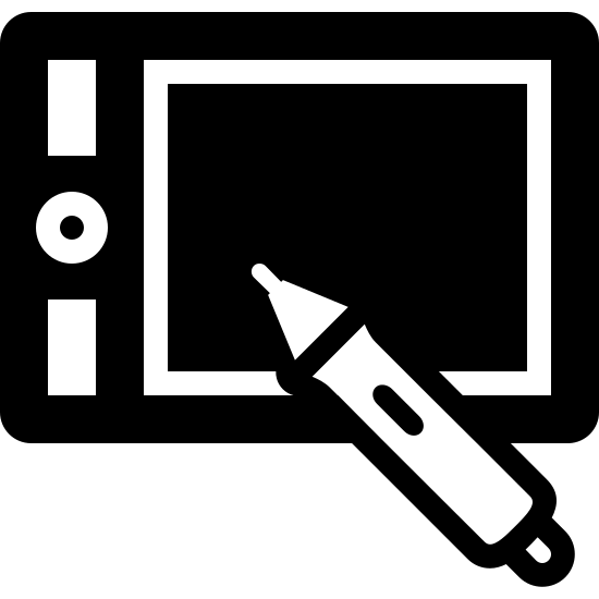 Wacom Tablet Filled icon. This is a rectangle with another smaller rectangle inside of it. On the inner left of the inner rectangle is a circle with a dot in the middle, with small rectangle on the top and bottom of that.