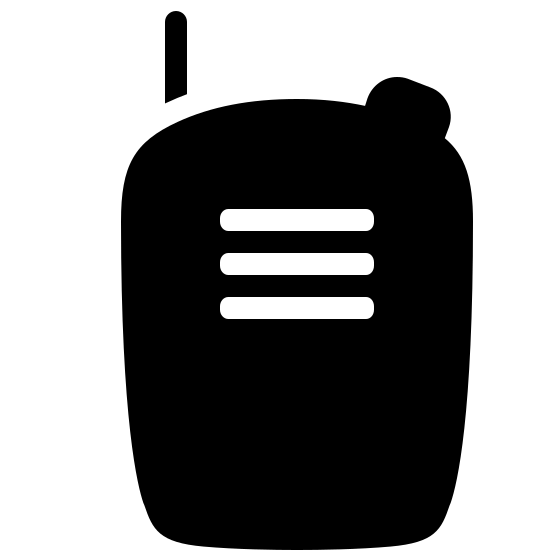 Рация icon. It is an icon to represent a walkie talkie. It is the shape of a phone with three straight horizontal lines inside. There is one vertical line on the top left side coming out and a small circle on the top right side.