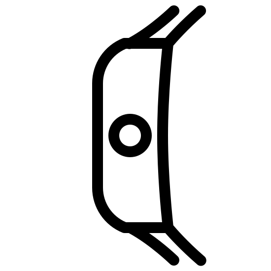 """Watches Side View icon. This icon for """"watches side view"""" consists of a rectangular shape in the center. It has a larger height than width, and has two curved edges on its left side along with a small circle in its center. There are two small lines at both the top and bottom of the rectangle, which all extend slightly to the right."""